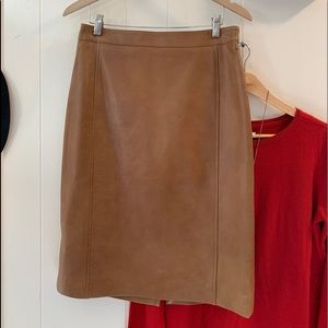 Talbots distressed brown leather pencil skirt
